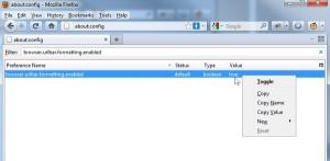 Firefox 6.0 Address Bar - about:config