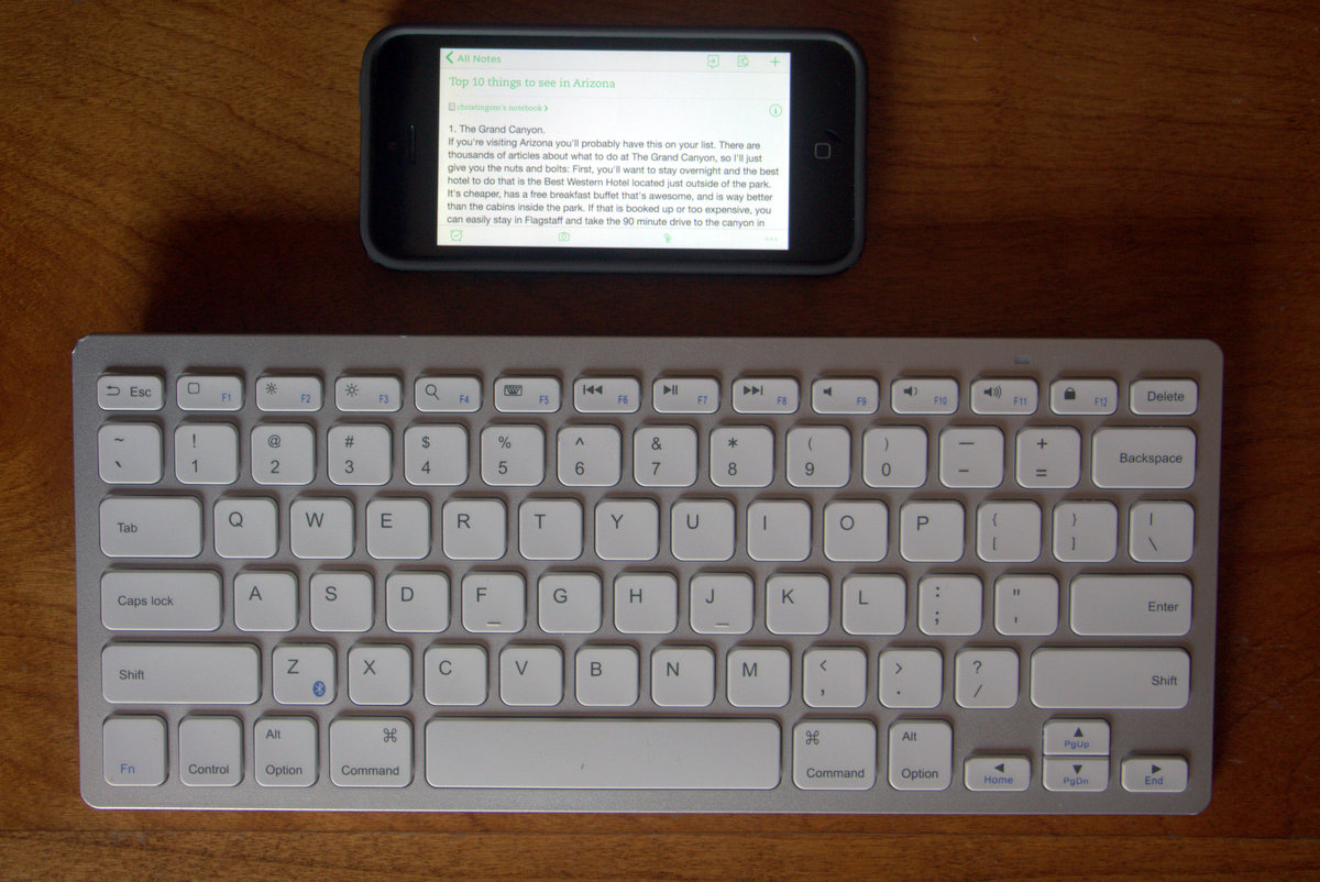 Bluetooth Keyboard and Evernote